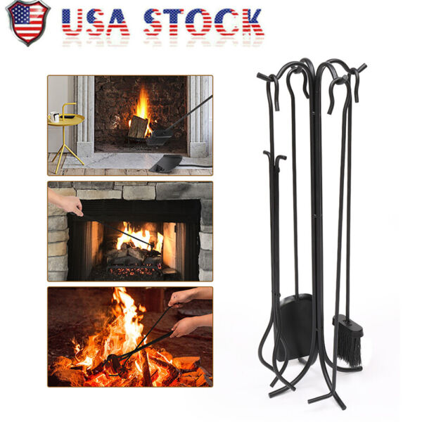 5Pcs Fireplace Iron Stove Tools Fireside Cast Iron Brush Shovel Poker Tongs Tool