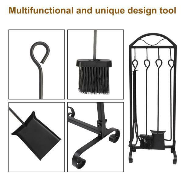 5 Pcs Fire Tool Wrought Iron Fireplace Pit Set Poker Shovel Brush Duty Stand