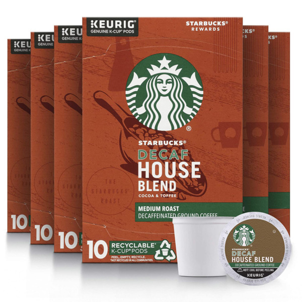 Starbucks Decaf K Cup Coffee Pods — House Blend for Keurig Brewers — 6 boxes 60