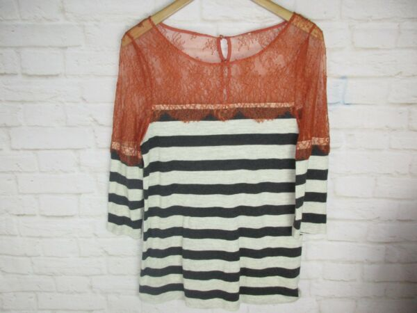 Deletta Anthropologie women#x27;s size S Lace and Lines Top Orange and Gray