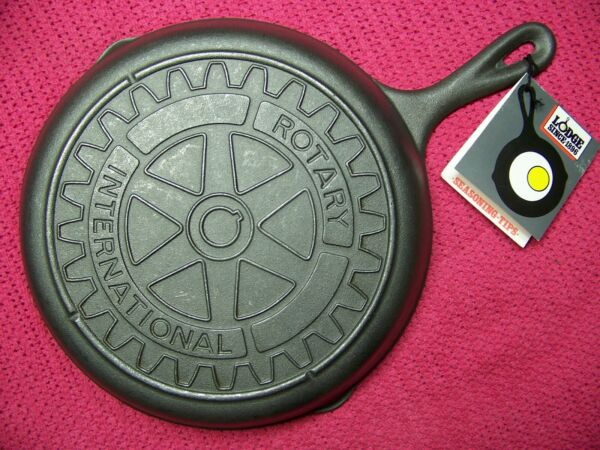 LODGE #8 ROTARY INTERNITIONAL Logo Advertising Cast Iron Skillet Wax Dip w Tag