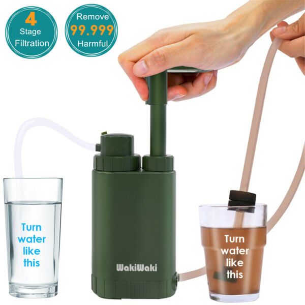 Personal Water Filter Pump Purifier for Camping Hiking Backpacking Survival Tool $39.44