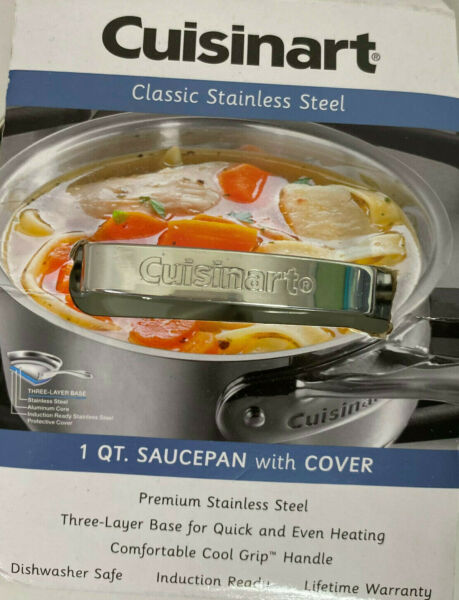 Cuisinart Stainless Steel 1 Quart Saucepan with Cover New