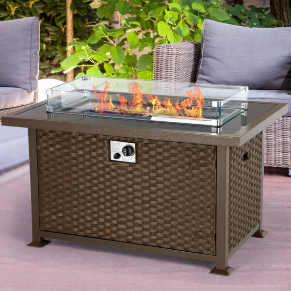 U MAX 44in Outdoor Propane Gas Rattan Fire Pit Table 50000 BTU Auto Ignition