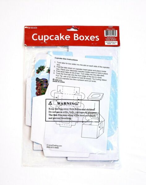 Christmas Themed Cupcake Boxes 6 Pack 4.5quot; With Inserts Holiday Train Blue