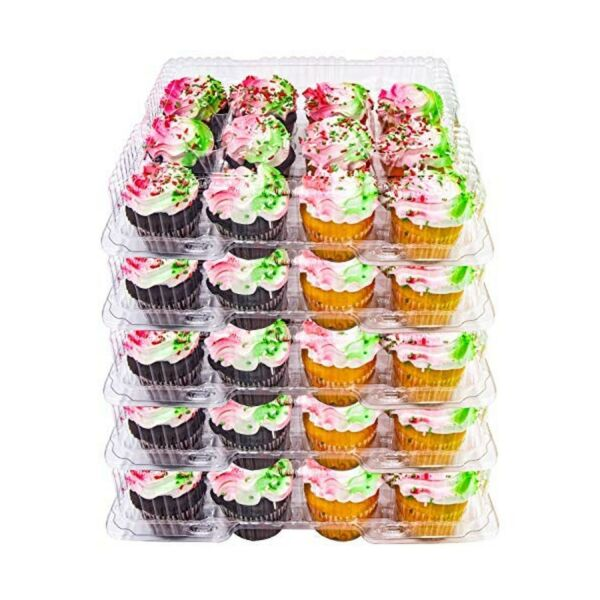 5 Plastic Cupcake Carrier Box 12 Slot Holder Container Disposable Tray Transp...