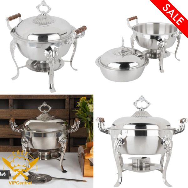 Choice Classic 5 Qt. Half Size Round Chafer Durable Restaurant Chafing Dishes