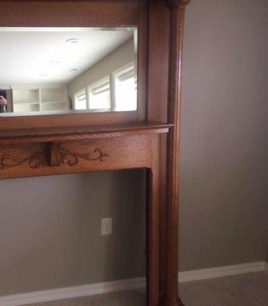 Antique Fireplace Mantle  custom built Oak with inset mirror.