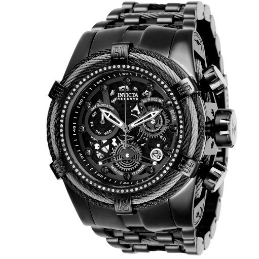 Invicta Reserve 53mm Bolt Zeus Diamond Swiss Mvt Chrono Black Steel 27234