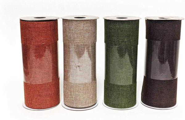 6 Inch Burlap Ribbon Rolls Thick Craft Ribbon Autumn Fall Color Assorted Variety