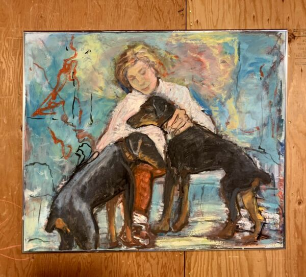 Original Oil Painting Mid Century Women With Two Dogs Signed.