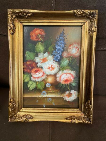 SMALL Original Still Life Flower Floral Painting French Gilt Wood Frame