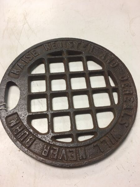 Vintage Cast Stove Cover Plate Raise Register and Cereals Will Never Burn