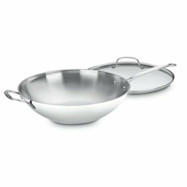 Cuisinart 14quot; Stir Fry Pan With Helper Handle amp; Glass Cover Chef#x27;s Classic