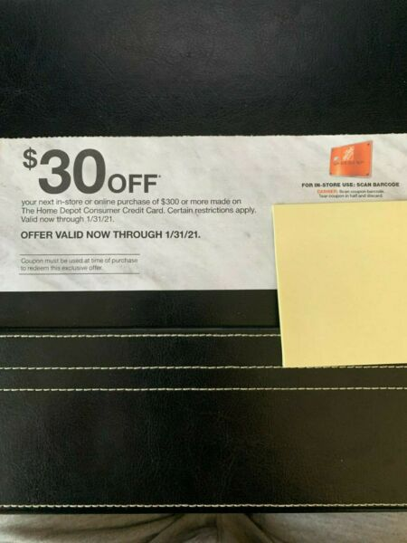 Home Depot Coupon $30 off of $300 purchases IN STORE or ONLINE Exp 1 31 21