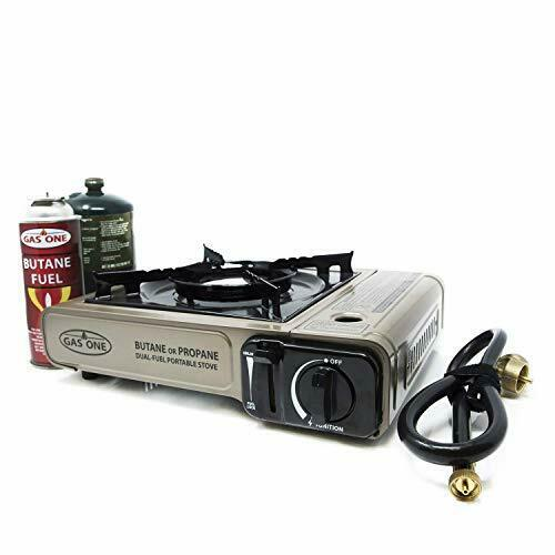 Dual Fuel Portable Camping and Backpacking Gas Stove Burner with Carrying Case
