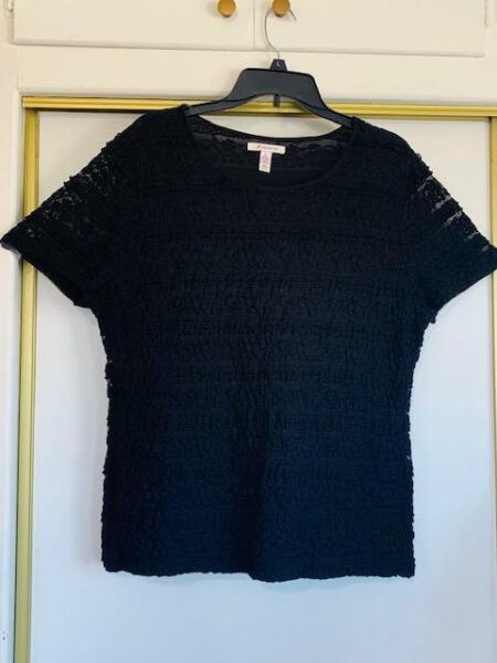 M Collection Black Lace and Ruffle Short Sleeve Top with Short Sleeves Size XL