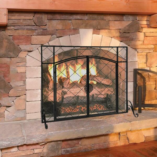 Pleasant Hearth Black Single Panel Fireplace Screen With Double Doors Home