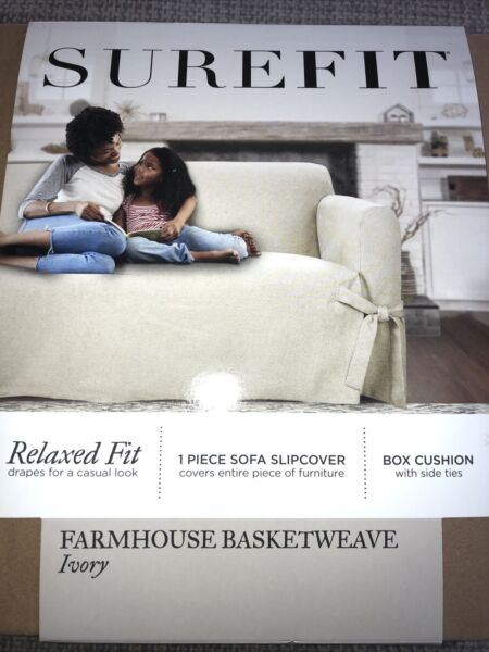 "Surefit Relaxed Fit Slipcover Farmhouse Basketweave Ivory Fits Sofa 74 96"" $34.00"