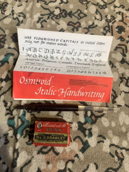 Vintage Esterbrook pen box of Drawlet nibs and paper Calligraphy
