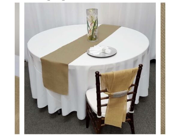 BURLAP TABLE RUNNER 14quot; x 108quot; 100% BURLAP TABLE DECOR