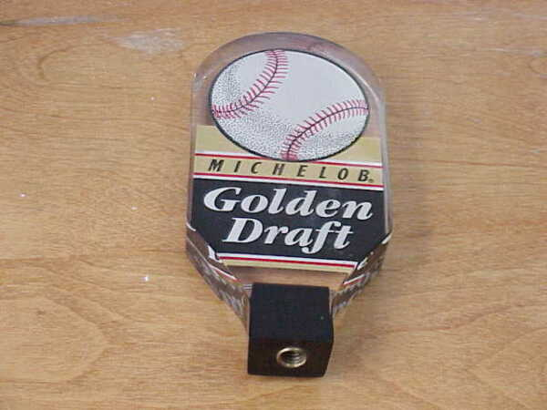 NICE MICHELOB GOLDEN DRAFT BASEBALL BEER DRAFT PULL KEG TAP HANDLE ACRYLIC