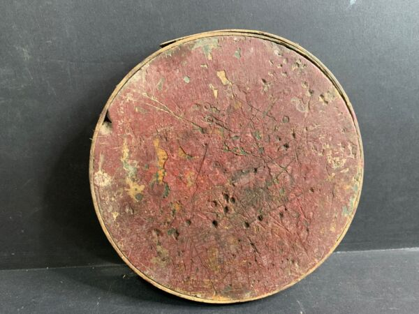 Antique Pantry Box Lid ONLY 5.875quot; Diameter Fitting 5.75quot; Box #10 Red Paint