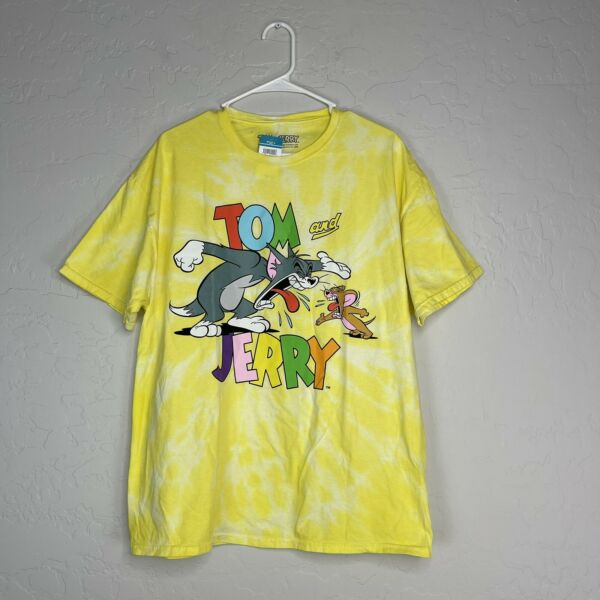 Rue Plus Tommy and Jerry Yellow Tie Dye Tshirt Plus Size 1X $12.74