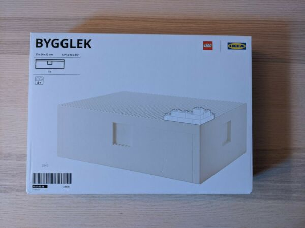 Ikea BYGGLEK LEGO large box with lid white 13 3 4x10x4 1 2 quot; NEW