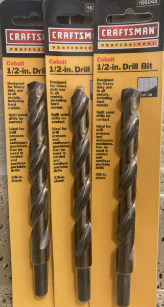 CRAFTSMAN Professional Cobalt 1 2quot; Drill Bit for Metal SEALED 3 TOTAL LOT