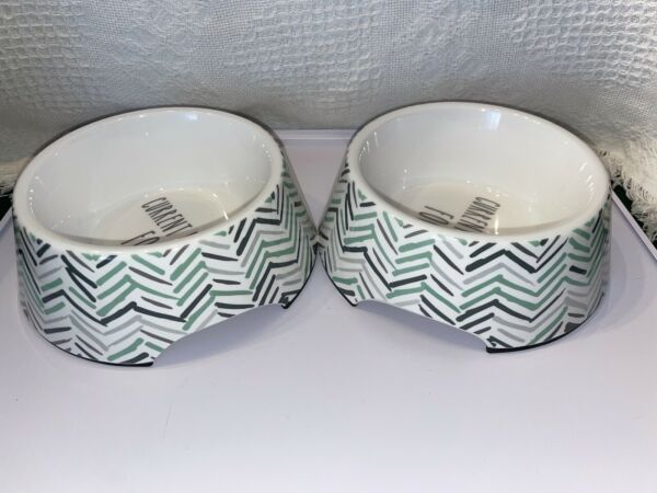 Set Of 2 quot;Current Mood=Foodquot; Melamine Dog Dishes By Top Paw Gray Teal Chevron $16.99