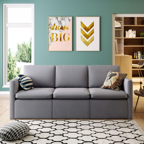 Convertible Sectional Sofa Couch Modern Linen Fabric L Shaped Couch Grey