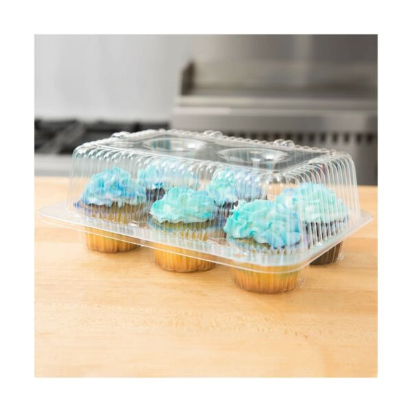 10 Cupcake Containers Plastic Disposable High Dome Cupcake Boxes 6 Compartm...