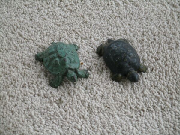Antique Cast Iron Turtle Paperweights