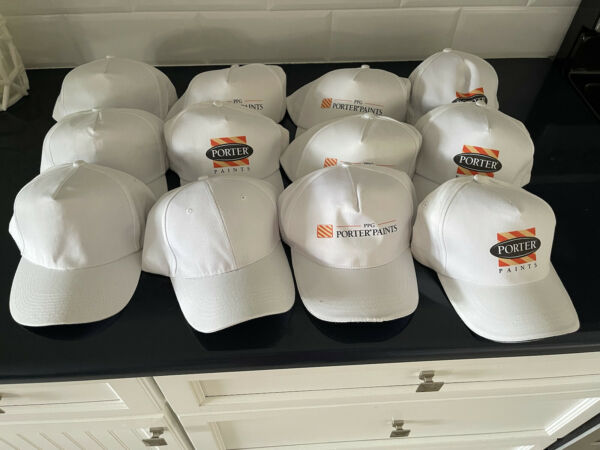 Lot Of 12 White Hats caps. 4 Blank 8 PPG Porter Paints. Adjustable. NEW $14.99