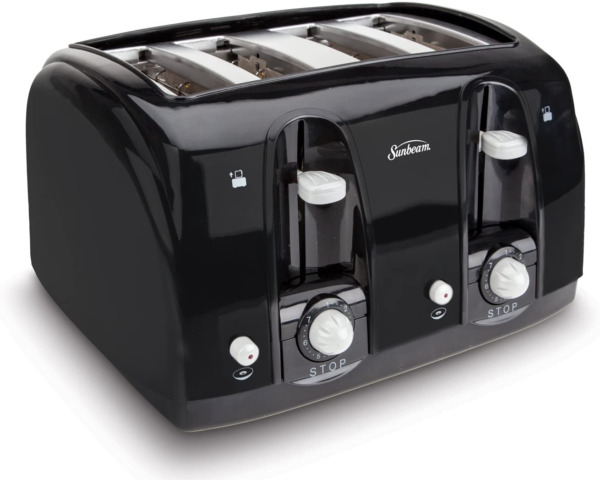 Professional 4 Slice Toaster Stainless Steel Black Bagel Toaster Extra Wide Slot