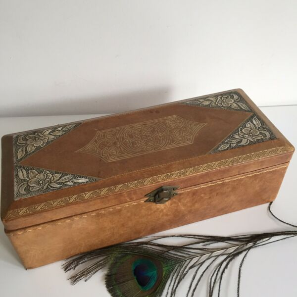 Large Box Jewelry Pen Fabric Leather Decor Floral And Geometric