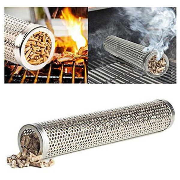 Stainless Steel BBQ Grill Smoker Box Tube for Wood Pellet Pipe Smoking Meat $12.79