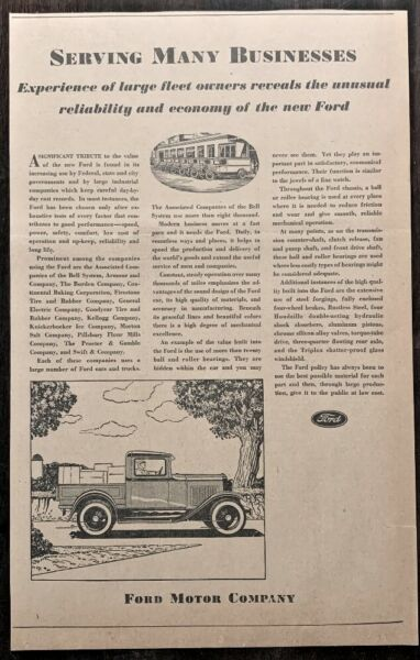 Large 1930 Ford Pick up Ad Original and RARE
