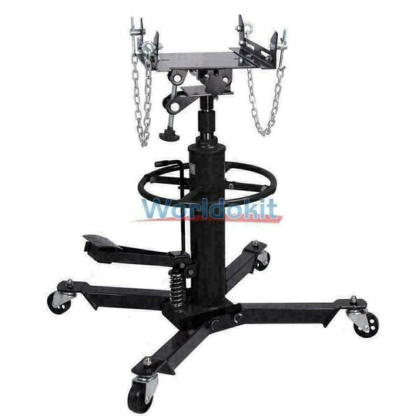 2 Stage Hydraulic Transmission Jack 1100 lbs Swivel Wheels Lift Hoist Black