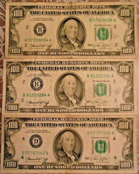 1974 $100 United States Federal Reserve Notes: Lot of Three Notes