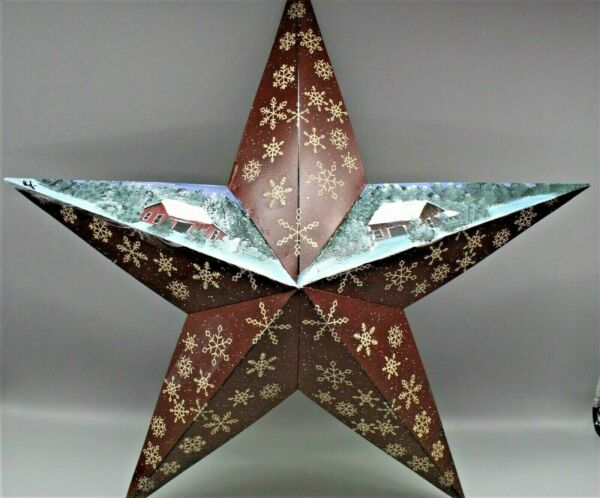 Metal country star with snowflakes and winter barn scene 2021021006 $16.00