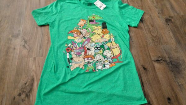 New Nickelodeon 90s TV Shows Cast Green Retro T Shirt M Medium nwt rugrats