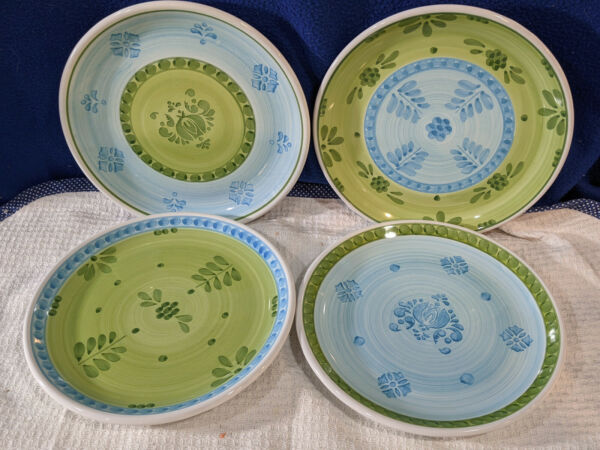WILLIAMS SONOMA Blue and Green Stencil Luncheon Plates Set of 4 Italy NICE $39.99