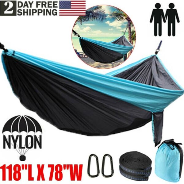 2 Person Hanging Hammock Swing Camping Canvas Bed w Heavy Duty Strap amp; Hook $28.77