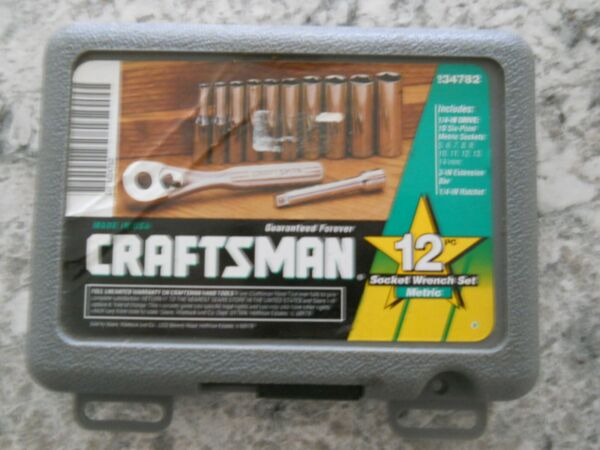 Vintage Craftsman 1 4quot; Drive 12pc Metric Deep Socket Set 6pt 34782 Made in USA