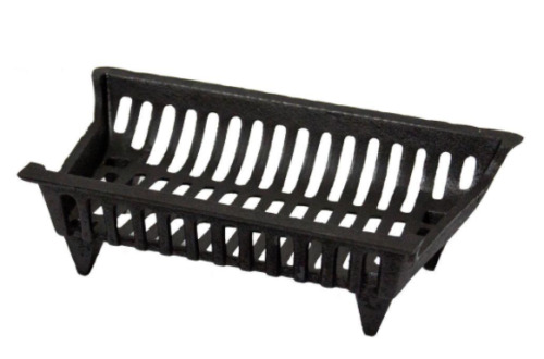 18 in Fireplace Grate Cast Iron Black Wood Log Burning Heater Accessory Fire Pit