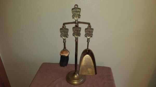 Beautiful Vintage Brass Small Fireplace Tool Set 3 pc Stand Crest Coat of Arms