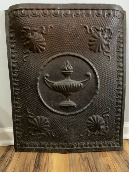 Vintage FIREPLACE Embossed Encircled Flame Finial Urn Design 25quot; by 20quot; Rustic