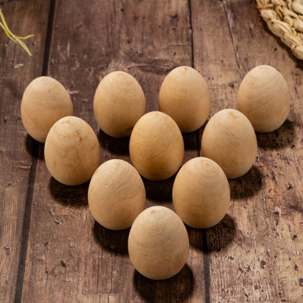 10Pcs Natural Wooden Unfinished Eggs DIY Painting Craft For Easter Party Decor
